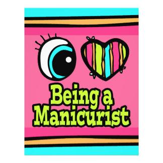 Coração que brilhante do olho eu amo ser um manicu modelos de panfleto