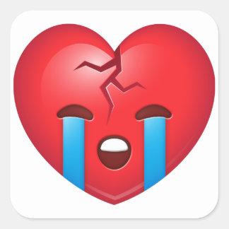 Coração quebrado triste Emoji Adesivo Quadrado