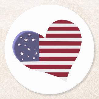 Coração referente à cultura norte-americana em porta-copo de papel redondo