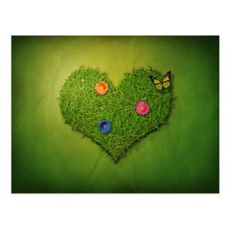 Coração romântico da grama - cartão