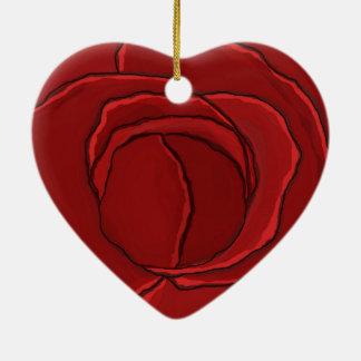 """Coração """"rosa vermelha """" do ornamento"""