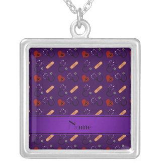 Coração roxo conhecido personalizado da atadura do colar com pendente quadrado