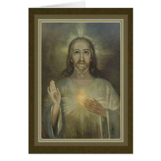 Coração sagrado bonito do cartão de Jesus