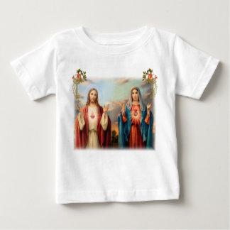 Coração sagrado de Jesus e coração imaculado de Camiseta Para Bebê