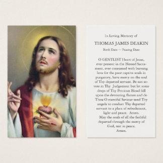 Coração sagrado do cartão fúnebre da oração de