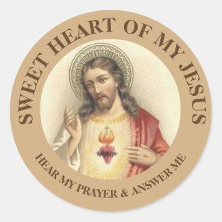 Coração sagrado do vintage de Jesus Adesivo Redondo