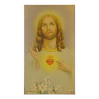 Coração sagrado do vintage do Jesus Cristo Poster