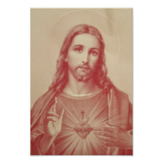Coração sagrado do vintage do poster de Jesus Pôster