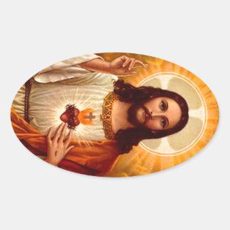 Coração sagrado religioso bonito da imagem de adesivo oval