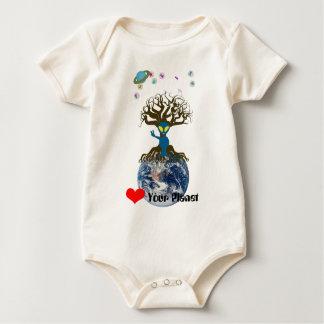 Coração seu planeta! Sinal de paz estrangeiro Body Para Bebê