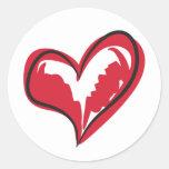 Coração simples adesivo redondo