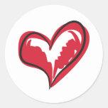 Coração simples adesivos redondos