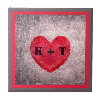 Coração Stonewashed em Monogrammed cinzento e Azulejo Quadrado Pequeno
