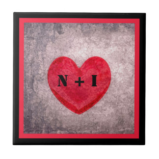 Coração Stonewashed no monograma preto e vermelho Azulejo Quadrado Pequeno