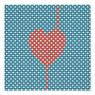 Coração tecido impressão fotográfica