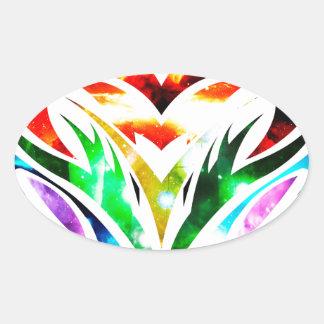 Coração tribal adesivo oval