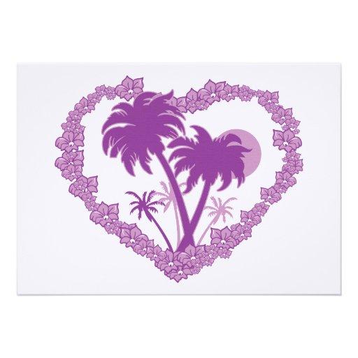 Coração tropical havaiano da palmeira convite