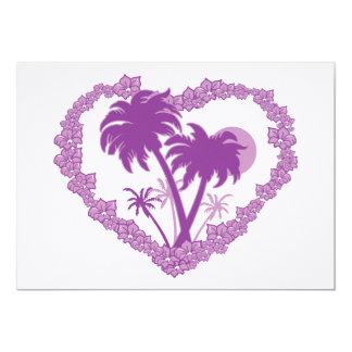 Coração tropical havaiano da palmeira convite 12.7 x 17.78cm