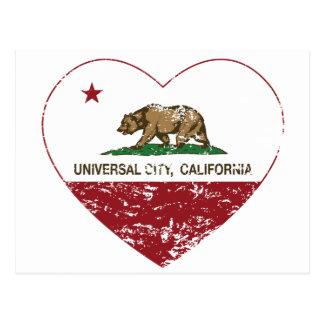 coração universal da cidade da bandeira de Califór Cartoes Postais
