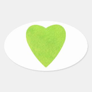 Coração verde da aguarela adesivo oval