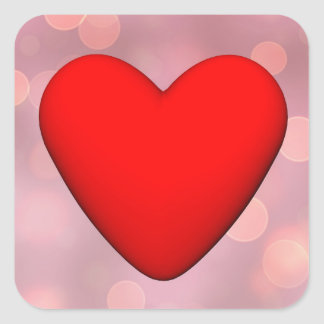 Coração vermelho - 3D rendem Adesivo Quadrado