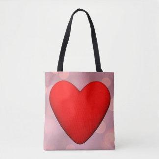 Coração vermelho - 3D rendem Bolsa Tote