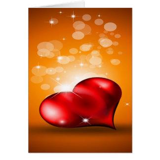 Coração vermelho bonito cartao