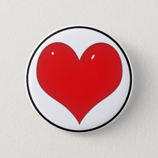Coração vermelho brilhante (adicione seu texto) bóton redondo 5.08cm
