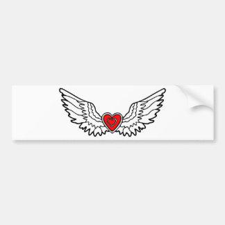 Coração vermelho com asas adesivo de para-choque