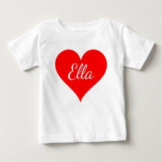 """""""Coração vermelho com nome customizável """" Camiseta Para Bebê"""