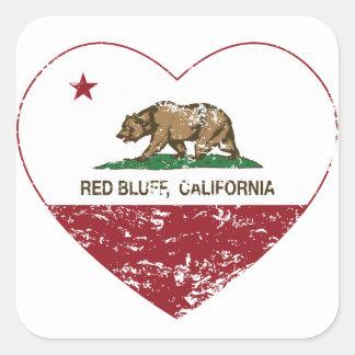 coração vermelho do blefe da bandeira de adesivo quadrado