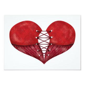 Coração vermelho do espartilho convite 12.7 x 17.78cm
