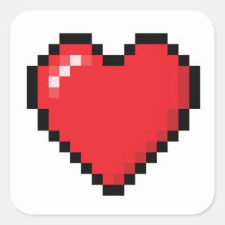 Coração vermelho do jogo de vídeo de Pixelated Adesivo Quadrado