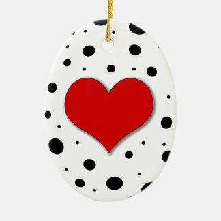 Coração vermelho ornamento de cerâmica oval