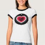 Coração vermelho & preto - t-shirt camiseta