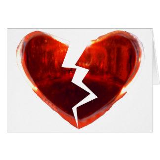 Coração vermelho quebrado cartão comemorativo