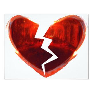 Coração vermelho quebrado convite 10.79 x 13.97cm
