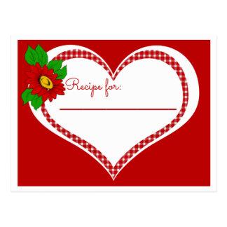 Coração vermelho retro do guingão e receita da cartão postal