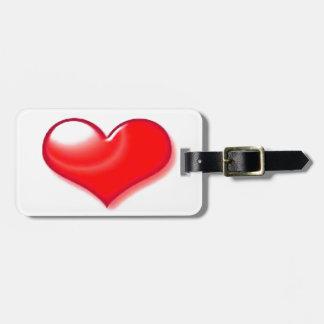 Coração vermelho etiquetas para malas