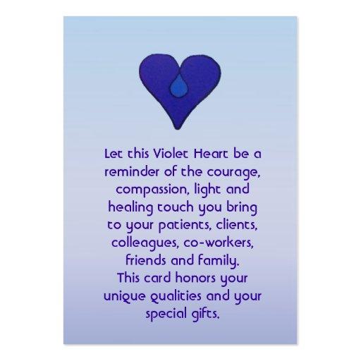Coração violeta - cartão dos cuidadors modelo cartões de visitas