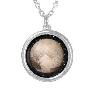 Coração-Vista de Pluto Colar Banhado A Prata