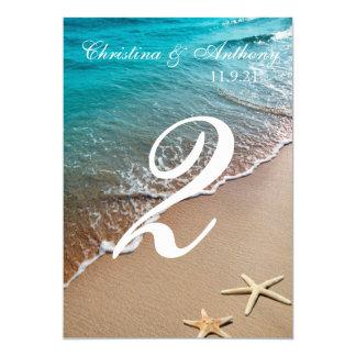 Coração Wedding do número da mesa na praia da Convite 12.7 X 17.78cm