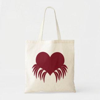 Coração weeping gótico em um saco do verde ir bolsa de lona