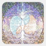 Coração, yin yang, árvore de vida por Amelia Carri Adesivo Quadrado