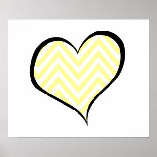 Coração, ziguezague (Chevron), listras, linhas - Pôsteres