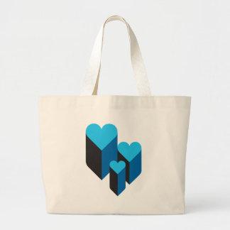 corações 3d bolsa de lona