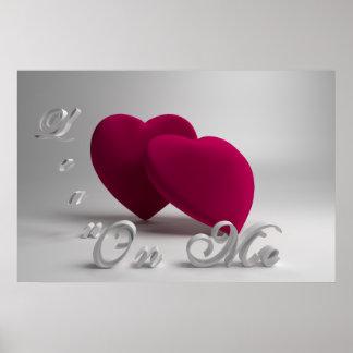 corações 3D e tipografia Pôster