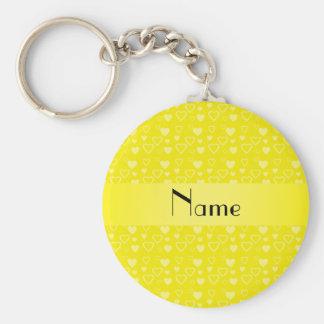 Corações amarelos conhecidos personalizados chaveiro