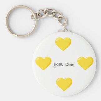 """Corações amarelos de Emoji e '' seu nome aqui """" Chaveiro"""