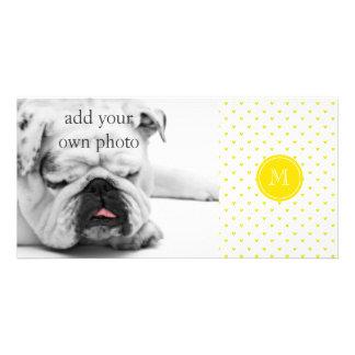 Corações amarelos do brilho com monograma cartão com foto